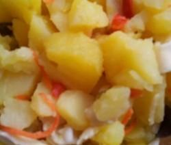 insalata con seppie, gamberi e patate