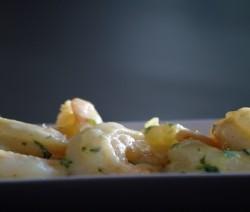 gamberi marinati con zenzero e coriandolo