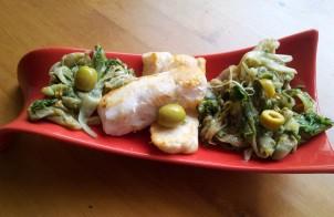 merluzzo con aglio, olio e scarole