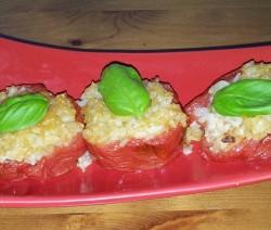 pomodori ripieni di riso integrale e asiago