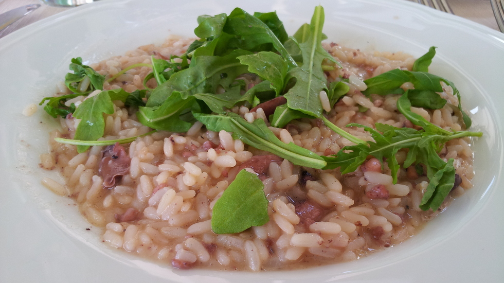 Risotto con calamari e rucola al vino rosso ricette for Ricette esotiche