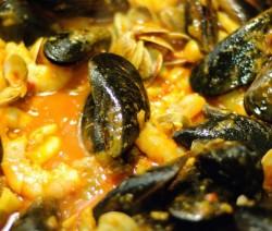 zuppa di zucca con frutti di mare