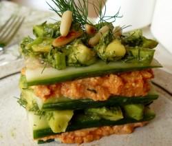 millefoglie di zucchine, patate e salmone