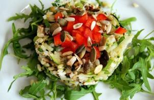 riso con rucola pomodorini e semi di zucca